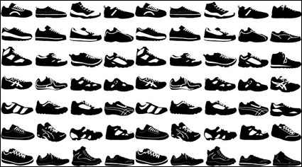 Variety of black and white sports shoes