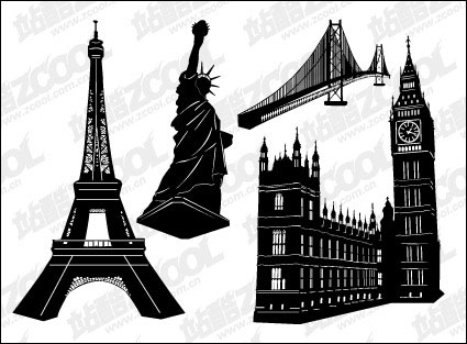 Famous building black and white vector material