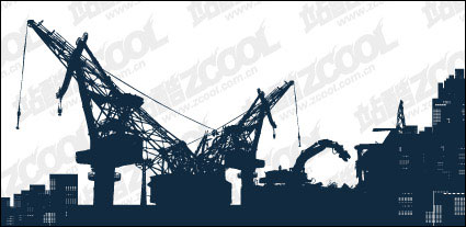 Vector silhouette of heavy machinery on site