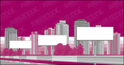 city building blank billboard Vector material
