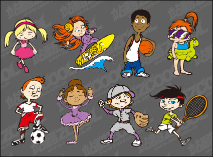 Sports cartoon character vector material