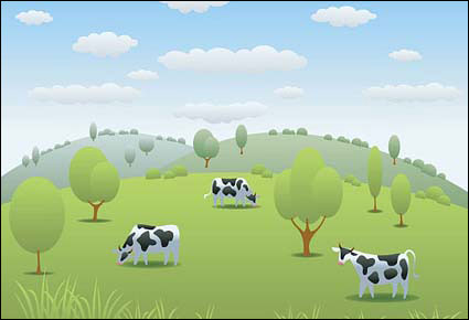 cow pasture Vector