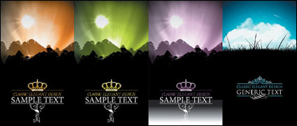 Beautiful scenery silhouette vector material