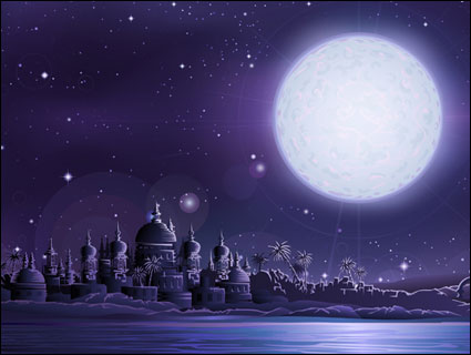 Ancient city under full moon vector material