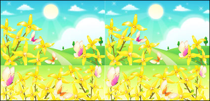 The outskirts of flowers and butterflies vector material