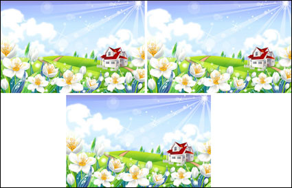 outside floral scenery  Vector