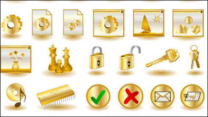 Gold common computer icon 02-- vector material