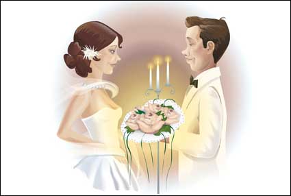 Wedding couple Vector material