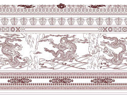The nine dragon wall mural vector material