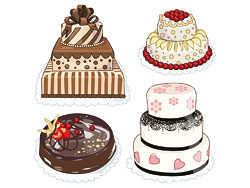 Cartoon cakes 03-vector material